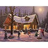 Bits and Pieces - 1000 Piece Glow in the Dark Puzzle - Family Traditions by Artist Geno Peoples - Winter Chirstmas Cabin -Holiday - 1000 pc Jigsaw