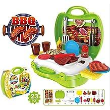 Eizur 23Pcs Gill Kit Giocattoli Barbeque Set Finta di giocare d'imitazione Giochi con Trasportare caso (Strumenti Di Cucina Caso Del Pacchetto)