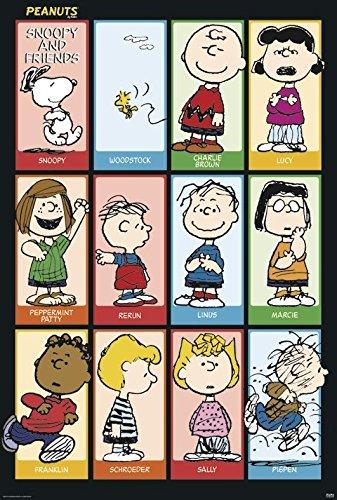 Peanuts Poster Snoopy & Friends (68,5cm x 101,5cm) + 2 St. schwarze Posterleisten mit Aufhängung