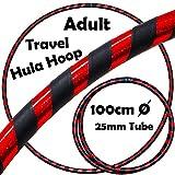 PRO Hula Hoops (Ultra-Grip / Glitter Deco) Gewichtetes TRAVEL Hula Hoop (100cm / 39 ') Hula Hoops Für Übung, Tanz & Fitness! (640g) KEINE Anleitung gebraucht - gleicher Tag Versand! (Schwarz / Rot Glitzer)