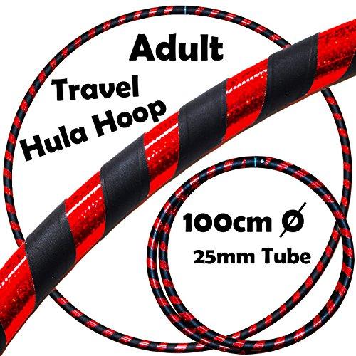 PRO Hula Hoops (Ultra-Grip / Glitter Deco) Gewichtetes TRAVEL Hula Hoop (100cm / 39') Hula Hoops Für Übung, Tanz & Fitness! (640g) KEINE Anleitung gebraucht - gleicher Tag Versand! (Schwarz / Rot Glitzer)