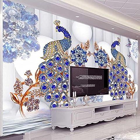 LWCX Benutzerdefinierte Wandbild Tapeten Im Europäischen Stil Blauen Pfau Schmuck Blume Luxus Tapete Wohnzimmer Fernseher Sofa Hintergrund Papel Wandbild 3D 200X140CM