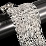 33 Feet Silver Plated Cable Chain Necklace with 30 Jump Rings and 20 Lobster Clasps for Jewelry Making (1.5 mm)