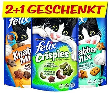 Felix knabber Mix et cristal pies I Chat lec kerlies, 12pièces + 6gratuits, 6x (2x 60g + 45g)