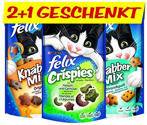 FELIX KnabberMix & Crispies Katzen-Leckerlis: mit Fleisch-, Lachs- & Gemüse-Geschmack, Katzen-Snacks, vitaminreich, Menge: 6er Pack (6 x 2 x 60 g) + 6 x 45 g gratis