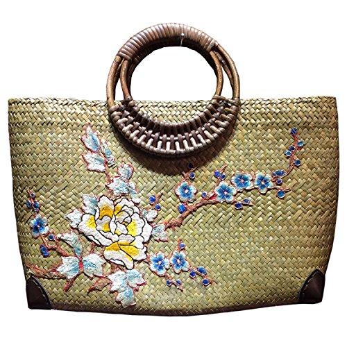 broderie à la main en tricot / armure toile de sac à main de bambou rotin paille / sacoche / Sacs portés épaule / Sacs portés main pattern 6 type jaune