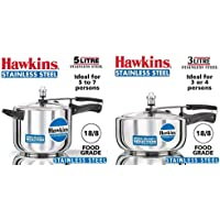 Hawkins Stainless Steel Pressure Cooker, 5 litres, Silver & Stainless Steel Wide Pressure Cooker, 3 litres, Silver Combo