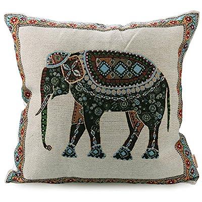 "Luxbon Jacquard Lucky Elephant Cushion Cover Festive Holidays Animal Pillowcase Decors Valentine Gifts 45x45cm (Beige) Home Decor 18x18"" - inexpensive UK light store."