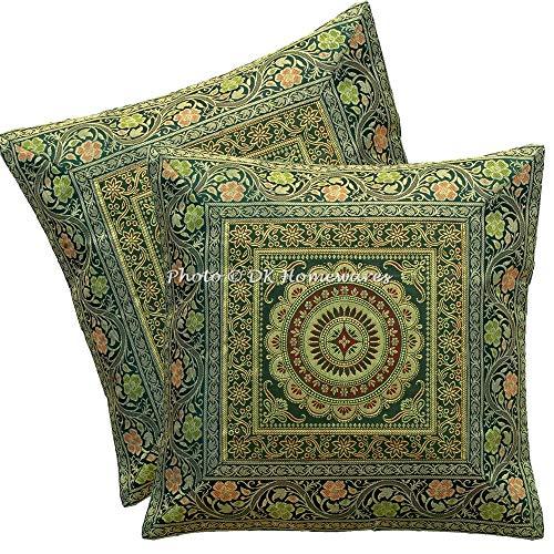 DK Homewares Brokat Indische Grüne Sofa Kissenbezüge 16 x 16 Brokat Jacquard Mandala Floral Platz Dekokissen Covers 40x40cm Wohnkultur Set Von 2 -