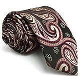 Shlax&Wing La Moda Hombre Seda Corbatas Para Gris Rojo Cachemir Extra largo