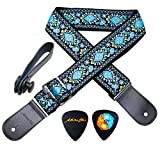 MOREYES Guitar Strap Genuine Leather Ends Jacquard Weave Strap for Bass, Electric & Acoustic Guitars (blue)