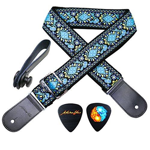 MOREYES Gitarrengurt aus echtem Leder Enden Jacquard Gewebe Gitarrengurt für Bass, E-& Akustik Gitarren blau