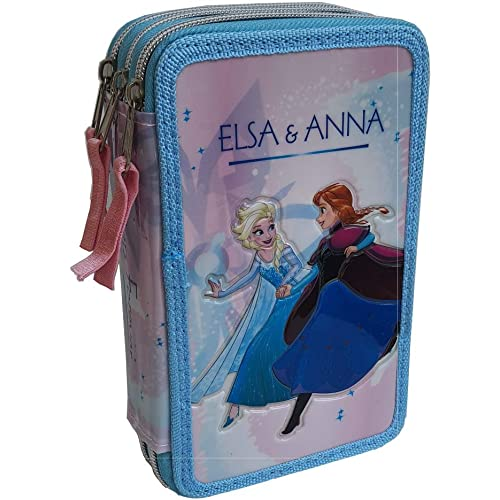 CARTOON GROUP Astuccio Scuola 3D Frozen Disney Elsa Anna MULTISCOMPARTO 3 Zip PASTELLI Fila PENNARELLI Giotto - FR0632