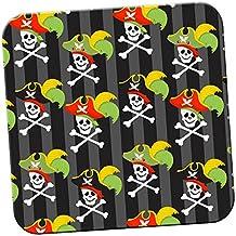 Mania de pirate avec trésor et les perroquets Dessous de Verre/Lot de dessous, Acrylique, Skulls Wearing Captains Hat, 1 x Coaster