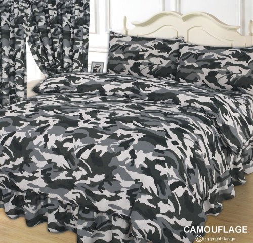 Camouflage Army, Black / Grey / White, Double Bed Duvet / Quilt Cover + Fitted Valance Sheet + 2 Pillowcases Complete Bedding Set