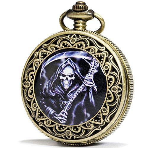 SEWOR Bronze Enamel Craft Pattern Japan Quartz Movement Pocket Watch with Double Chain (Metal & Leather) (Grim Reaper)