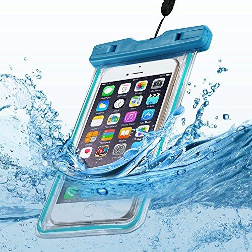 Transparente Housse Waterproof Coque Anfire Pochette Étanche Case Imperméabilité Certifiée IPX8 Étanche Imperméable Coque Étanche pour Téléphone Taille égale ou Inférieure à 6.2 pouces - Noir Bleu