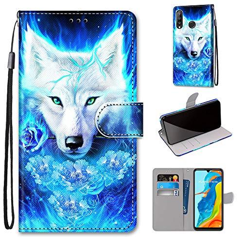 Miagon Flip PU Leder Schutzhülle für Huawei P30 Lite,Bunt Muster Hülle Brieftasche Case Cover Ständer mit Kartenfächer Trageschlaufe,Rose Wolf