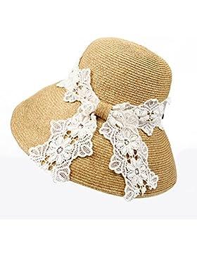 LVLIDAN Sombrero para el sol del verano Lady Anti-sol gran lado ancho del sombrero de paja plegable caqui
