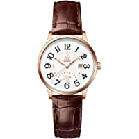 SK Classic Business Women Watches with Stainless Steel Band and Genuine Leather Elegant Ladies Calendar Watch