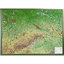 Sachsen Gross 1:325.000 mit Rahmen: Reliefkarte Sachsen mit grünfarbenen Holzrahmen