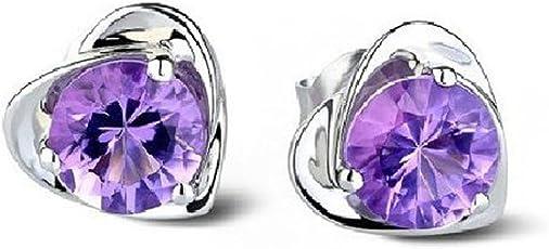Sealike Super Cute Amethyst Purple Crystal Diamond Design Heart Shape Stud Earrings Jewelry Women Lady Girls with a Stylus