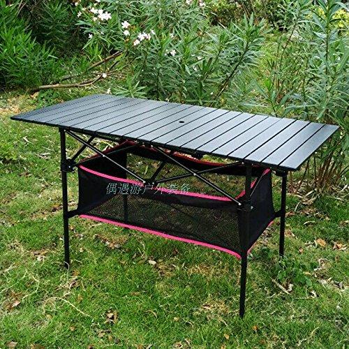 JJTLZY Mesa PlegableMesa plegable de aluminio al aire libre mesa de picnic portátil rectangular que conduce la mesa y la silla cansada del huevo simple,20 pedazos 120 * 55 * 68 con el bolsillo de la correa del agujero