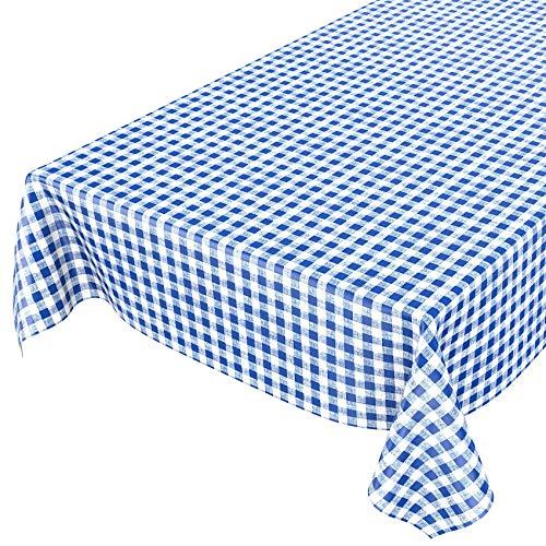 ANRO Tischdecke Wachstischdecke Wachstuch Wachstuchtischdecke Karo Klassik Meterware Blau 200x140cm