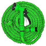 Lowmany Tubo da Giardino espandibile + connettore Rubinetto + ugello Spray Multifunzione per Giardinaggio, Lavaggio Auto, Verde, Dimensioni assortite