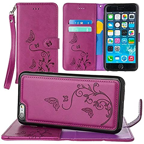 CellularOutfitter iPhone 6 Plus/6s Plus Leather Wallet Case Butterfly Embossed - Includes Detachable Matching Case and Wristlet - Magenta