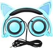 Cat Ear Headphones, GOGOING Kids Headphones with LED Flash Wired Mode, Foldable Game Headset fit Smartphones iPhone, Android