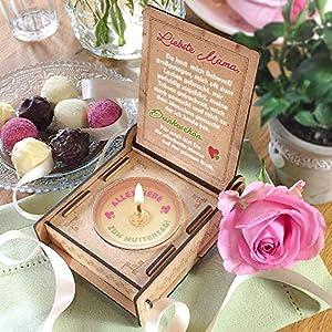 Geschenkbox für Mama mit Botschaft & Kerze | Geburtstagsgeschenk | Engel ohne Flügel nennt man Mama | Dankeschön Mama | Geschenk zum Geburtstag (Rot)