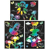Kit Immagini Scratch Art con Fatine del Giardino per Bambini da Ideare, Confezionare ed Esporre - Set Attività Creativa per Bambini (Confezione da 6)