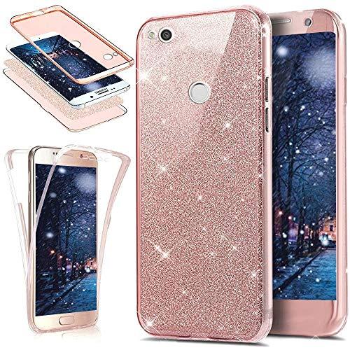 Kompatibel mit Huawei P8 Lite 2017 Hülle,Full-Body 360 Grad Bling Glänzend Glitzer Klar Durchsichtige TPU Silikon Hülle Handyhülle Tasche Case Front Cover Schutzhülle für Huawei P8 Lite 2017,Rose Gold