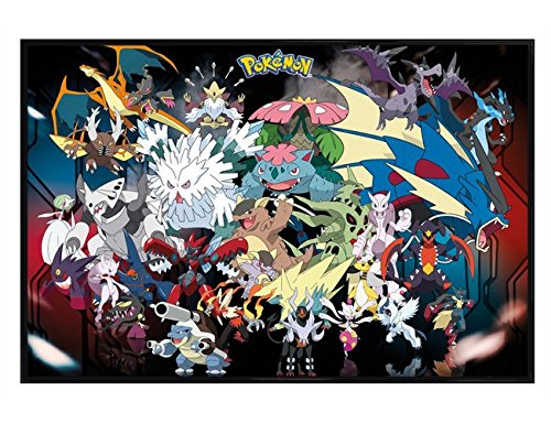 Pokemon glänzendes schwarz eingerahmtes Mega Evolutions Maxi Poster 61 x 91,5 cm (Ds-mega-ruby)