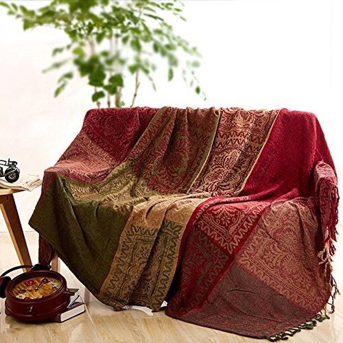 Sofaüberwurf, Möbelschutzdecke aus Chenille-Jacquard mit Fransen, mediterraner Stil, Decke für alle Jahreszeiten, rot / grün, 220*260CM -