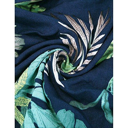 VESSOS Damen Kleid Neckholder Schulterfrei mit Träger Floral 3