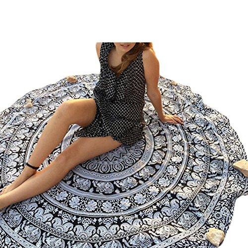 Erica Frauen Strand Decke Mandala Tapisserie böhmischen runden Elefanten  Druck Strand Schal Wall Decor Yoga Mat as figure