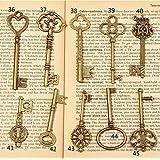 PsmGoods® Vintage Skeleton Antique Keys Charm DIY Padlock Old Style Look Bronze 10Pack