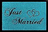 SCHMUTZMATTE Fußmatte JUST MARRIED Hochzeit Geschenk Liebe Türmatte Spruch Türkisblau