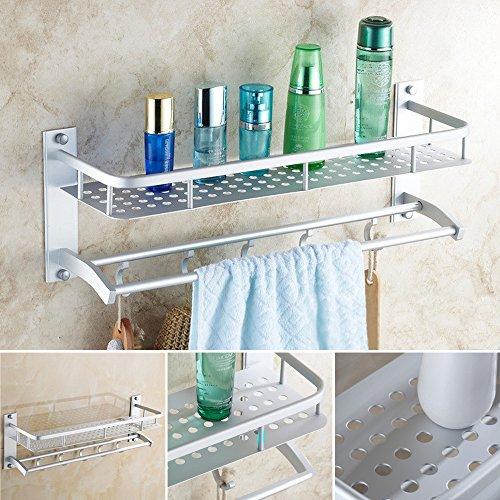 2 Capa de diseño de Aluminio de baño cesta Plataforma de baño toalla Titular de rieles para rack montado en la pared con el estante de la toalla gancho