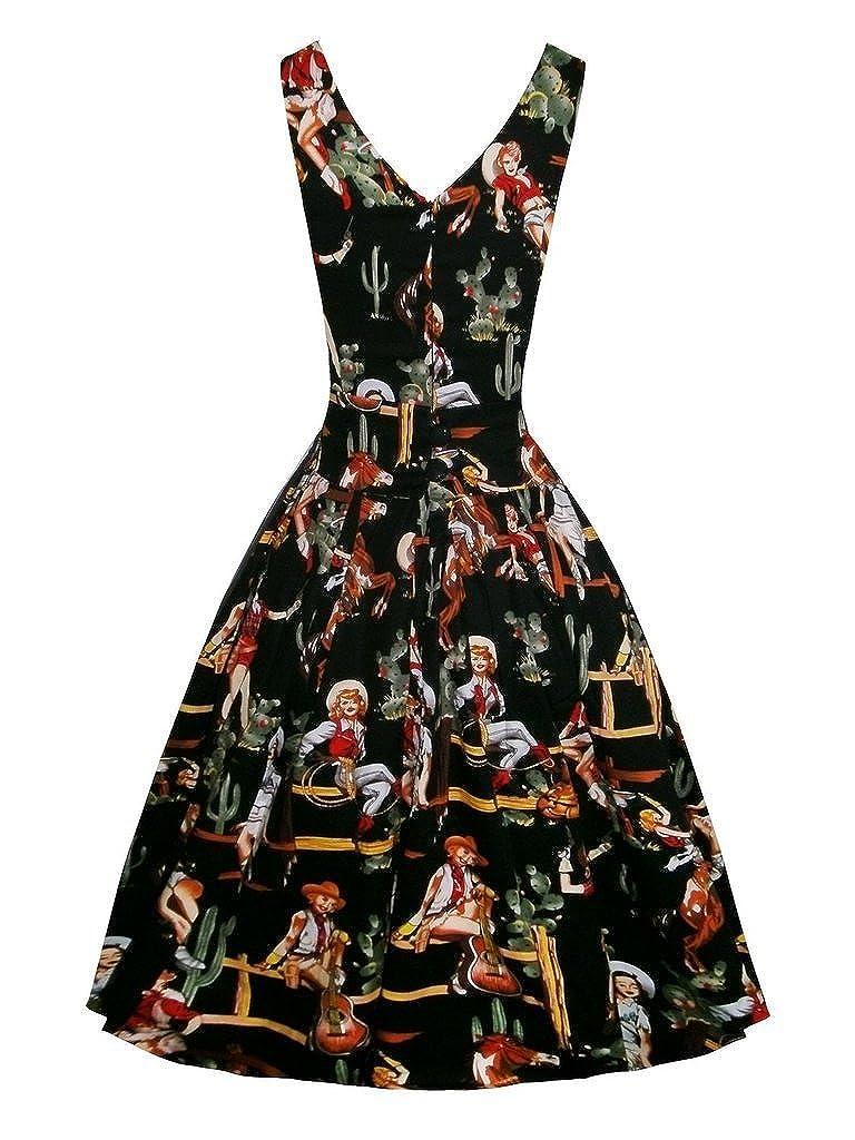 Shoppen Sie Eyekepper Retro 'West-Maedchen' weinlese 1950 aermellose  Cocktail Party Schaukel-Kleid auf Amazon.de:Kleider