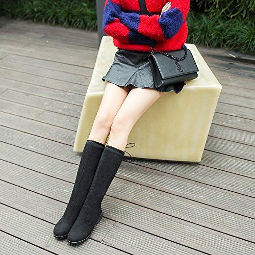Scarpe da donna in similpelle Autunno Inverno Slouch Stivali Stivali Chunky tallone punta tonda ginocchio alti stivali fibbia per abbigliamento casual Nero Blu Blue
