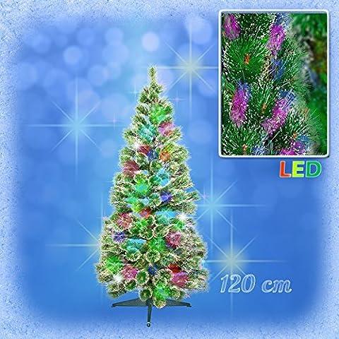 Weihnachtsbaum FICHTE mit farbwechselnden Lichtfasern, 120 cm, inkl. Netzadapter und Ständer / Christbaum LED / Christmas tree