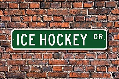 Aersing Lustige Metallschilder Eishockey Eishockey Fan Eishockey Spieler Geschenk Hockey Spieler Garage Haus Hockey Zaun Auffahrt Straße Dekor