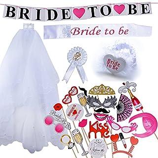 """AONER 1 Set Fotorequisiten + 5 Stück """"Bride to be"""" Dekoration Party Set inkl. Schärpe, Strumpfband, Abzeichen, Schleier und Banner für zukünftige Braut Junggesellinnenabschied"""