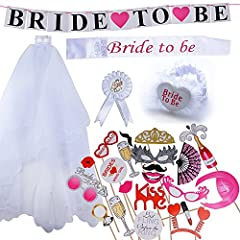 Idea Regalo - (Kit da 25 pz) Bride To Be Hen Night Futura Sposa Puntelli Foto Decorazioni Festa Addio al Nubilato Matrimonio Velo con Pettine Fascia Bride Photo Booth Props Wedding