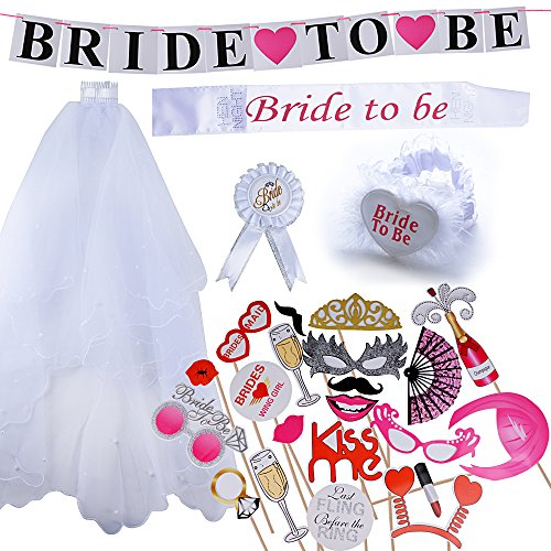 5pcs Velo de Novia Bride to be Insignia Liga Banda Pancarta + 20pcs Photo Booth Props Boda Fiesta...