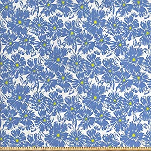 ABAKUHAUS Blumen Stoff als Meterware, Botanische Pastell Natur, Qualitäts Stoff Polster für Wohnaccessoires, 10M (160x1000cm), Violettblau Gelb