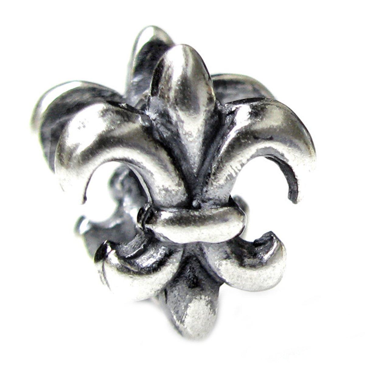 Queenberry Sterling Silver Fleur-de-lis European Bead Charm